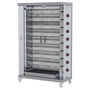 Girarrosto elettrico professionale verticali ad asta con illuminazione interna,8 spiedi per 40 polli
