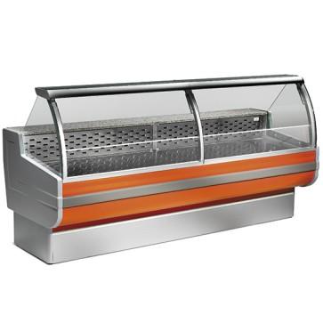 Vetrina refrigerata statica,vetro curvo, larghezza=2500