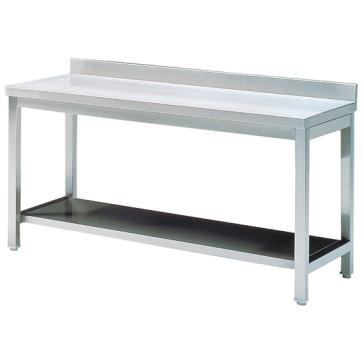 Tavolo da lavoro con ripiano intermedio e alzatina, 1500x700 mm.