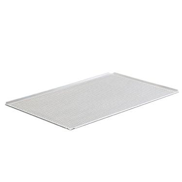 Teglia in alluminio non rivestita, 600x400 mm - 4 bordi 45°, perforata