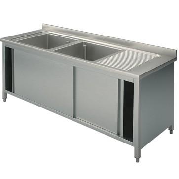 Lavatoio armadiato con porte scorrevoli, 2 vasche sinstra, 2000x600 mm.