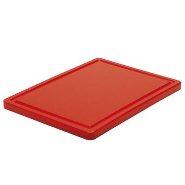 tagliere in rosso per carne con canalina, 500x300 mm