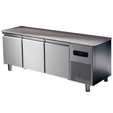 Tavolo congelatore pasticceria hccp 3 porte 8 guide 60x40 cm con piano in granito temp.-10 °c/-20 °c