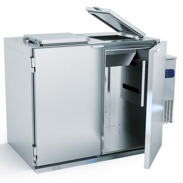 Box refrigerato per rifiuti 2x 120/ 240 litri, con gruppo a destra e kit invernale