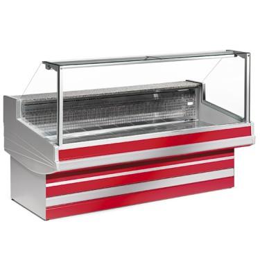 Banco carne refrigerato statico con vetro dritto, l=1500 mm