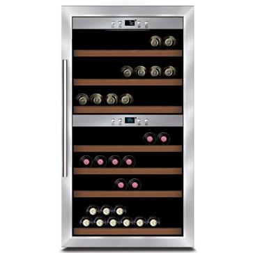 Espositore refrigerato per vini ventilato 2 vani capacità 66 bottiglie 0,7 lt. temp. +5 °c/+22 °c