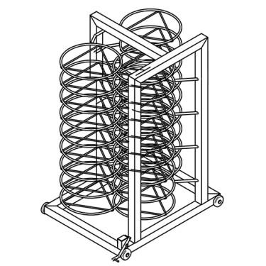 struttura reggipiatti per carrello, 30x ø 310 mm