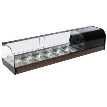 Vetrinetta tapas refrigerata a 2 piani, 6x GN1/3 altezza 40 mm.