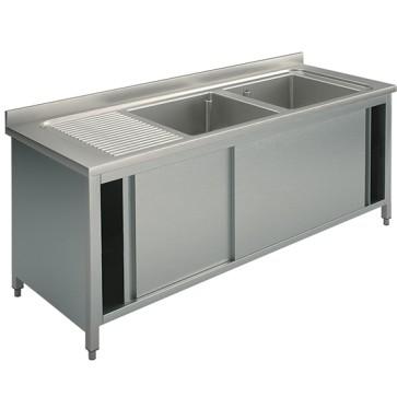 Lavatoio armadiato con porte scorrevoli, 2 vasche destra, 2000x600 mm.