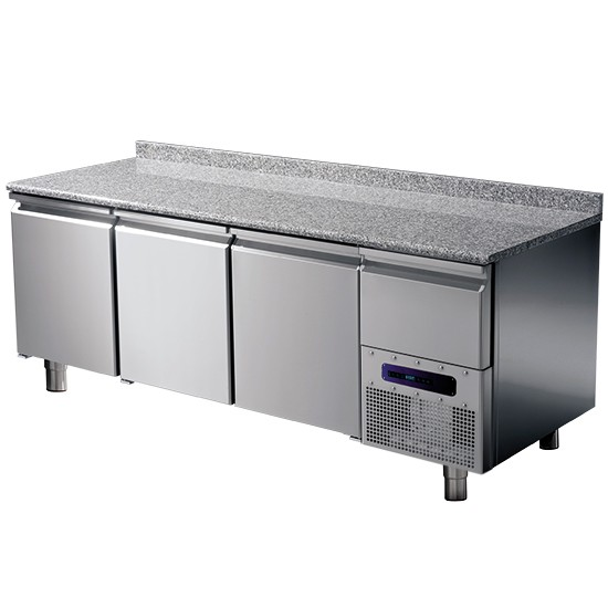 Tavoli refrigerati pasticceria con piano in granito con alzatina