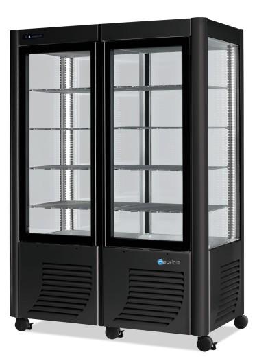 Vetrina refrigerata verticale statica con 5+5 ripiani, -5°c/-20°c, colore argento/nero