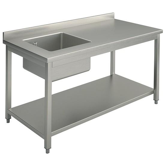 Tavolo da lavoro per cucine industriale con vasca a sinistra, con alzatina,  con ripiano intermedio