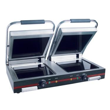 Grill a contatto doppia panini - piastre lisce vetroceramica. 2x 250 x 250 mm