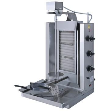 griglia kebab a gas con 3 zone di riscaldamento, motore sopra, 30 kg