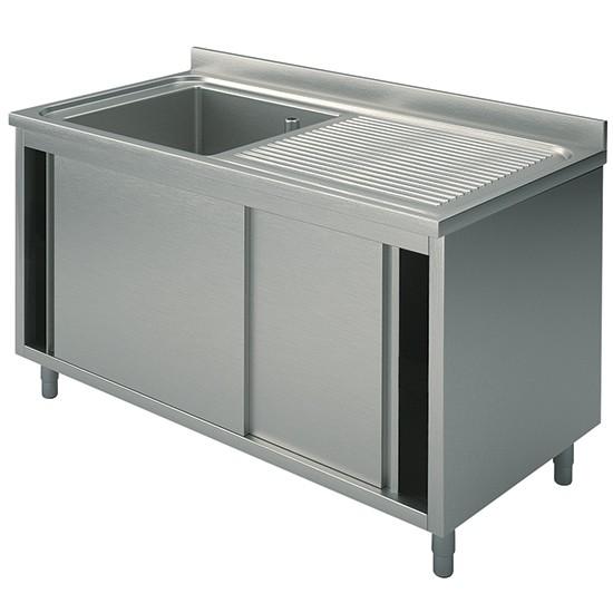 1 vasca, su armadio, con porte scorrevoli, gocciolatoio destro, profondità 60 cm