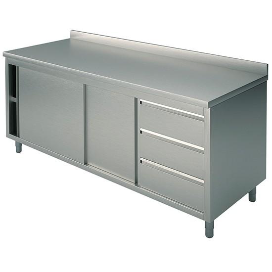 Tavoli armadiati con cassettiera a destra con alzatina profondità 70 cm