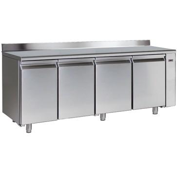 Tavolo congelatore gruppo remoto 4 porte gn 1/1 piano lavoro con alzatina temp.-10 -22 c,hccpsistem