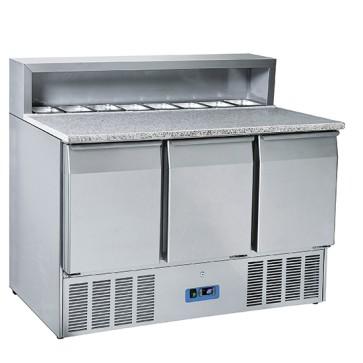 Banco preparazione refrigerato tre porte gn 1/1, piano lavoro granito cap. 8 gn 1/6 x ingredienti