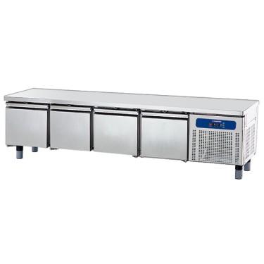 base refrigerata con 4 cassetti 1/1 per apparecchiature di cottura, l=2200 mm
