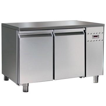 Tavolo refrigerato per gruppo remoto per pasticceria,2 porte con 6 guide 60x40 cm con piano in inox