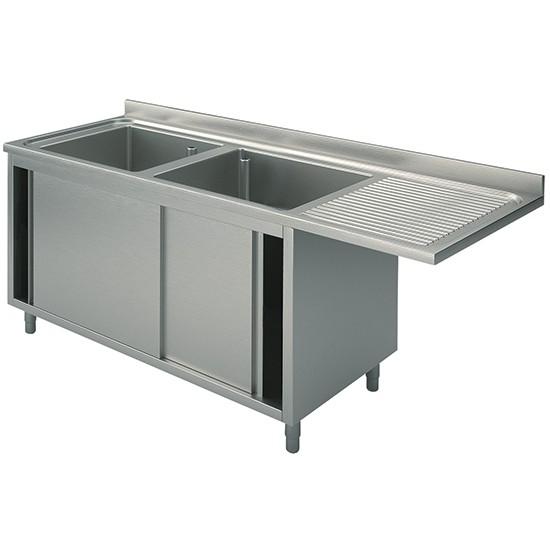 Per incasso lavastoviglie, 2 vasche, su armadio, con porte scorrevoli, gocciolatoio destro, profondità 70 cm