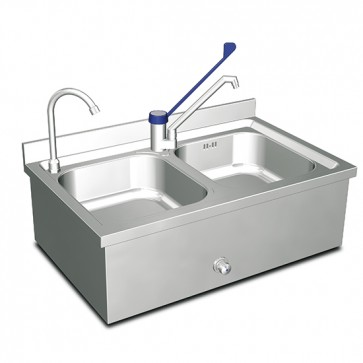 Lavamano a parete con 2 vasche/2 rubinetti