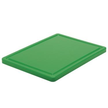 tagliere in verde per verdura con canalina, 500x300 mm