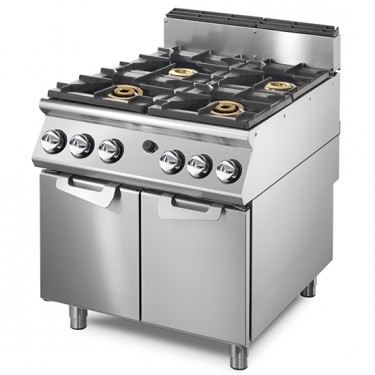 Cucina a gas con 2 bruciatori da 16 kW e 2 bruciatori da 6 kW su vano con porte