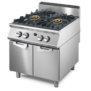 Cucina a gas con 2 bruciatori da 16 kW su vano con porte