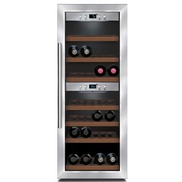 Espositore refrigerato per vini ventilato 2 vani capacità 38 bottiglie 0,7 lt. temp. +5 °c/+22 °c