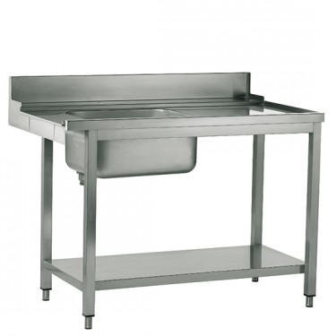 tavolo ingresso destro con vasca a sinistra per lavastoviglie a capot, l=1500 mm