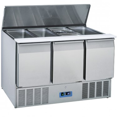 Saladette professionale con coperchio e vano refrigerato 3 porte - GN1/1 +4/+10°C