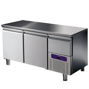 Tavolo refrigerato 2 porte GN 1/1 con cassetto refrigerato su vano motore, -2 °/+8 °C