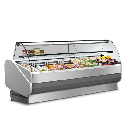 Vetrine refrigerate semi-ventilate, vetro curvo