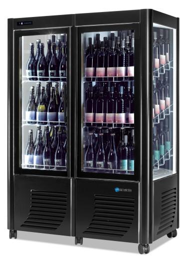 Espositore refrigerato per vini, 144 bottiglie, +4°c/+15°c - colore nero
