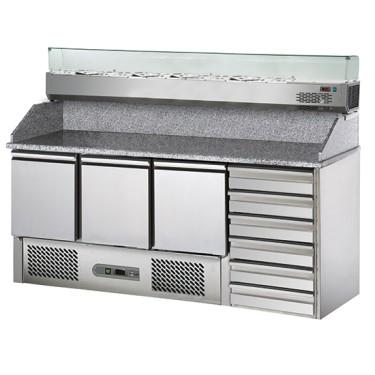 Banco pizza a 3 porte GN 1/1, 6 cassetti EN, sovrastruttura refrigerata 8x GN 1/4.