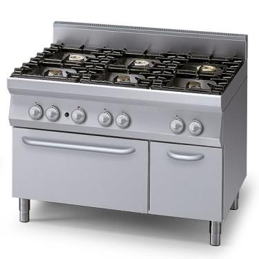 Cucina a gas su forno elettrico statico gn 2/1 e vano chiuso, 6 bruciatori