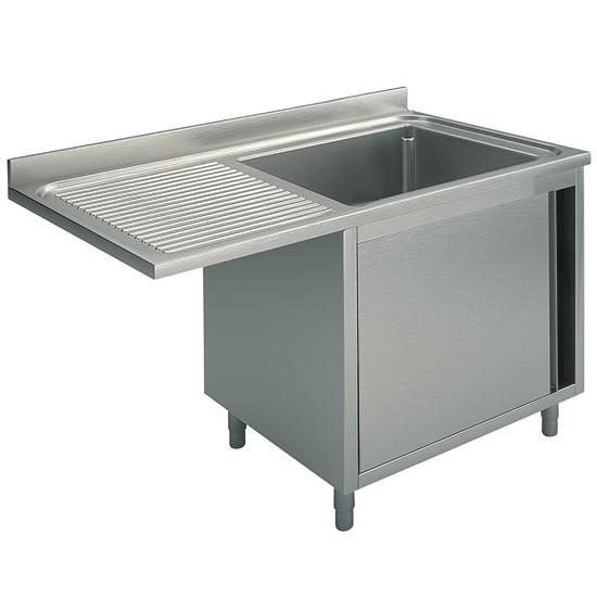 Per incasso lavastoviglie, 1 vasca, su armadio, con porta battente, gocciolatoio sinistro, profondità 70 cm