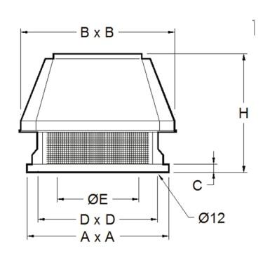 Estrattore da tetto centrifugo a 2 velocità, 1650 m³/h