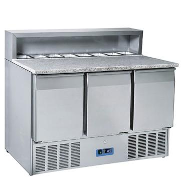 Banco preparazione refrigerato tre porte capacità 8 gn 1/6 x ingredienti