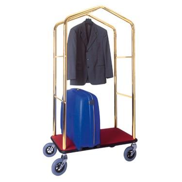 Carrello portavaligie e portabiti con struttura ottonata