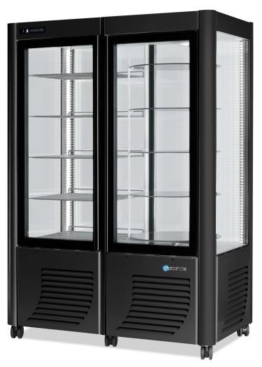 Vetrina refrigerata verticale ventilata con 5+5 ripiani, +2°c/+10°c, colore argento