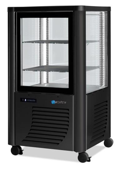 Vetrina refrigerata verticale statica con 3 ripiani, -5°c/-20°c, colore nero/argento
