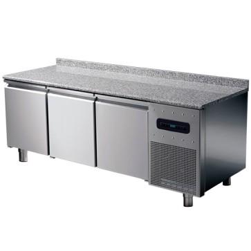 Tavolo congelatore pasticceria hccp 3 porte, 8 guide 60x40 piano granito +alzatina temp.-10°c/-20°c