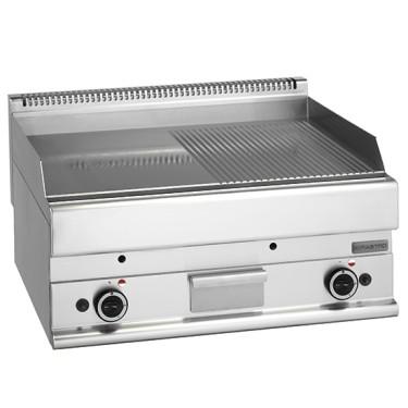 fry top a gas da banco, piastra liscia e rigata