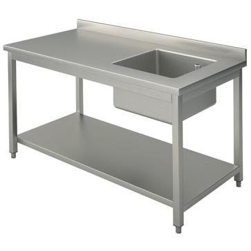 Tavolo con vasca destra 50x40 cm con ripiano intermedio e alzatina