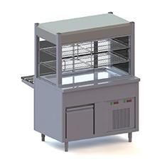Elemento vetrina refrigerata con vasca refrigerata su armadio refrigerato, l=1500 mm, 4x GN 1/1.