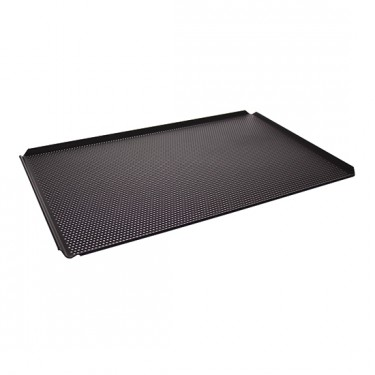 Teglia in alluminio non rivestita, GN 1/1 - 4 bordi 45°, rivestimento termoplastico, perforata
