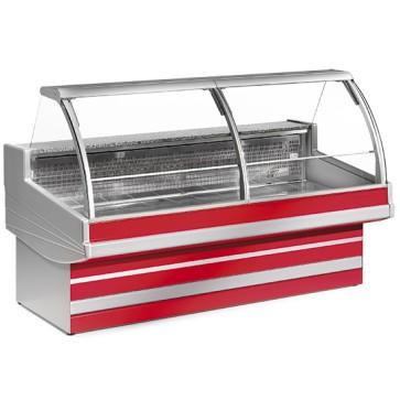 Banco carne refrigerato statico,vetro curvo, larghezza=3500 mm