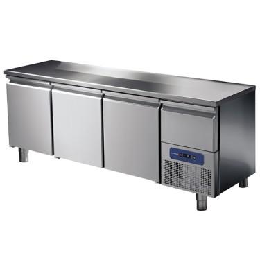 Tavolo refrigerato 3 porte GN 1/1 con cassetto refrigerato su vano motore, -2 °/+8 °C
